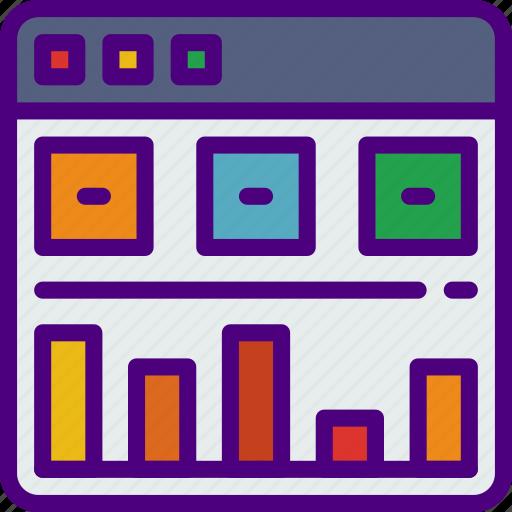 analytics, app, computer, development, web icon