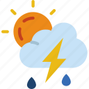 forecast, rain, sun, thunderstorm, weather icon