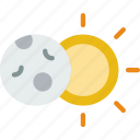 eclipse, forecast, moon, rain, sun, weather icon