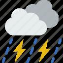 forecast, rain, sun, thunderstorm, weather icon