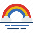 forecast, rain, rainbow, sun, weather icon
