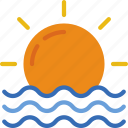 forecast, rain, sun, sunrise, weather icon
