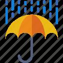 forecast, rain, rainy, sun, weather icon