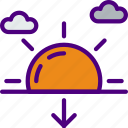 forecast, rain, sun, sunset, weather icon