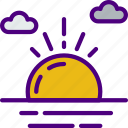 forecast, rain, sun, sunset, weather icon