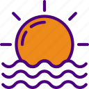 forecast, rain, sun, sunrise, weather icon