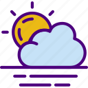 cloudy, forecast, rain, sun, weather icon