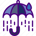 broken, forecast, rain, sun, umbrella, weather icon
