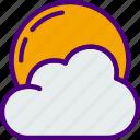 cloudy, forecast, night, rain, sun, weather icon