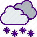 forecast, rain, snowy, sun, weather icon