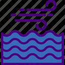 agitated, forecast, rain, sea, sun, weather icon