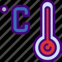 forecast, high, rain, sun, temperature, weather icon