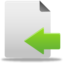 arrow, document, file, import, left, move icon