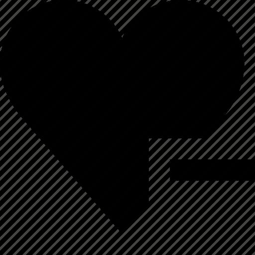 favorite, favourite, heart, love, minus, remove, valentine icon