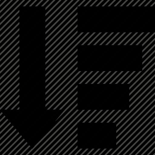 amount, arrow, direction, down, organization, sort icon