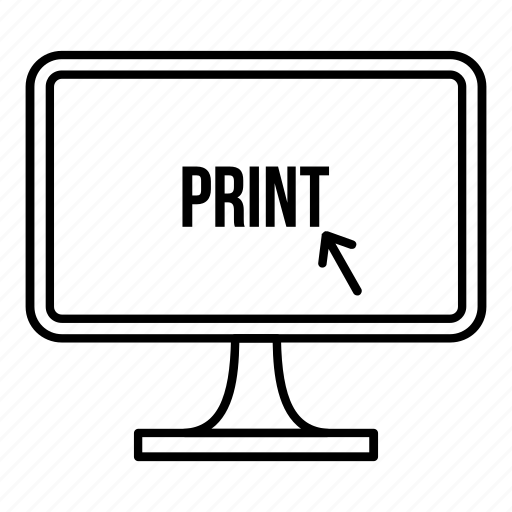 computer, device, line, monitor, outline, screen, work icon