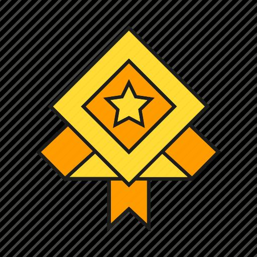 award, prize, reward, ribbon, star, success, win icon