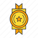 award, prize, reward, ribbon, star, success, win icon