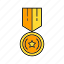 achievement, award, medal, prize, reward, star, win icon