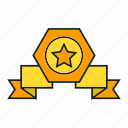 achievement, award, prize, reward, ribbon, star, win icon