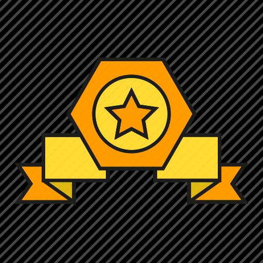 achievement, award, prize, reward, ribbon, star, win icon