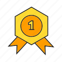 achievement, medal, prize, reward, ribbon, success, win icon