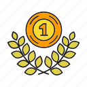 achievement, award, medal, prize, success, wheat, win icon