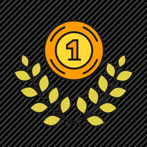 achievement, award, medal, prize, success, wheat, win icon
