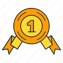 award, medal, one, prize, reward, ribbon, win icon