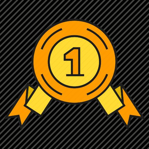 award, medal, one, prize, reward, ribbon, win icon