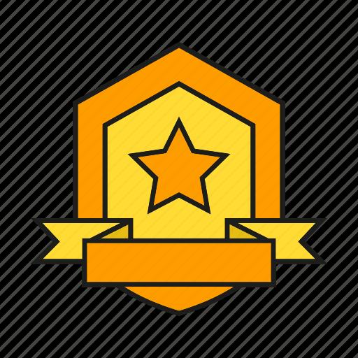 award, prize, reward, ribbon, shield, success, win icon