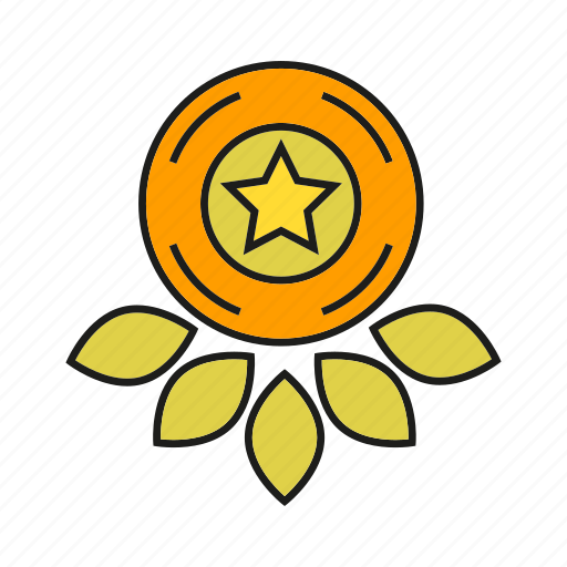 badge, insignia, medal, rank, seal, star, status icon