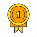 award, medal, one, prize, reward, success, win icon