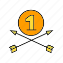 achievement, arrow, award, best, bow, medal, success icon