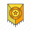 award, prize, reward, shield, star, success, win icon