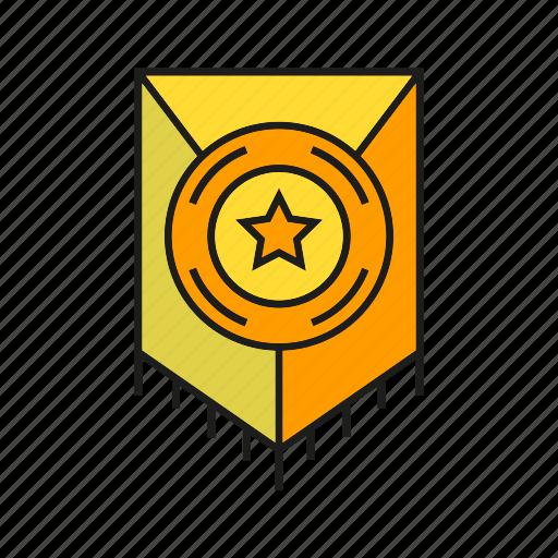 award, prize, reward, shield, star, success, win icon