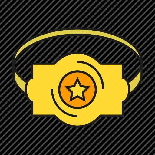 award, belt, champ, prize, reward, star, win icon