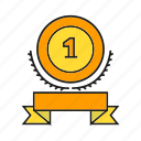 award, medal, prize, reward, ribbon, trophy, win icon