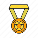 achievement, award, medal, prize, star, success, win icon