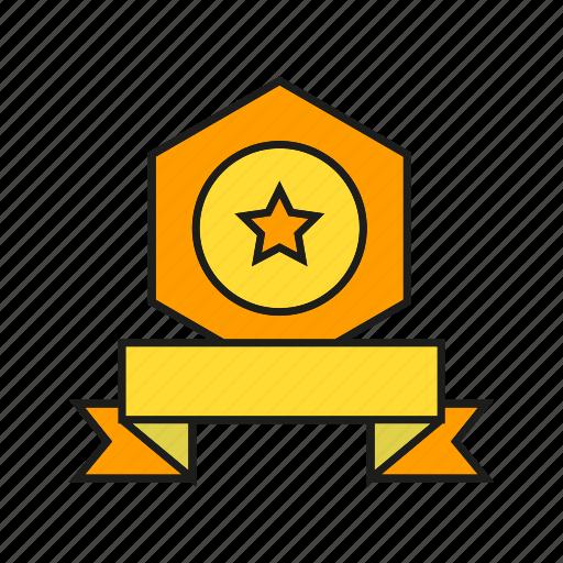 award, medal, prize, reward, ribbon, star, win icon