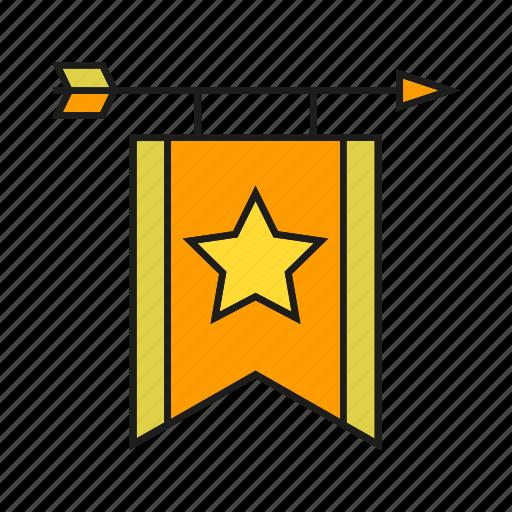 arrow, banner, blazon, bow, ensign, flag icon