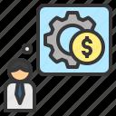 business, finance, management, money, process icon