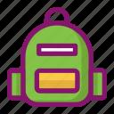 backpack, bag, clothing, ecommerce, fashion, travel, vacation icon