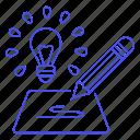 development, research, brainstorm, concept, generation, drafting, idea, product, lightbulb, description icon