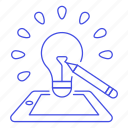 development, concept, phone, generation, idea, product, lightbulb, description icon