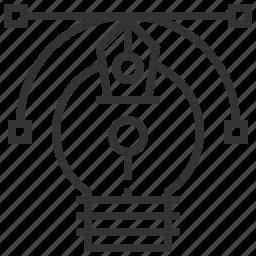creative, design, line, thinking icon