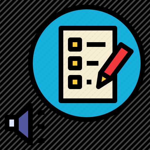 announce, define, defining, determine, identify, list, rules icon