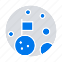 flag, moon, planet, space icon