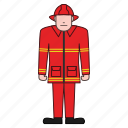 firefighter, fireman, safety icon