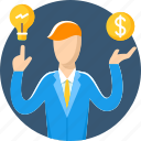 businessman, finance, idea, make, man, marketing, money icon